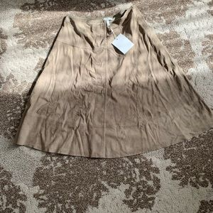 Joie Mylon Suede Khaki Midi Skirt W/ Snap Buttons